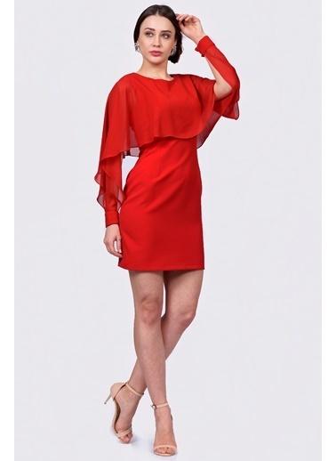 İroni Şifon Detaylı Yarasa Kol Elbise Kırmızı